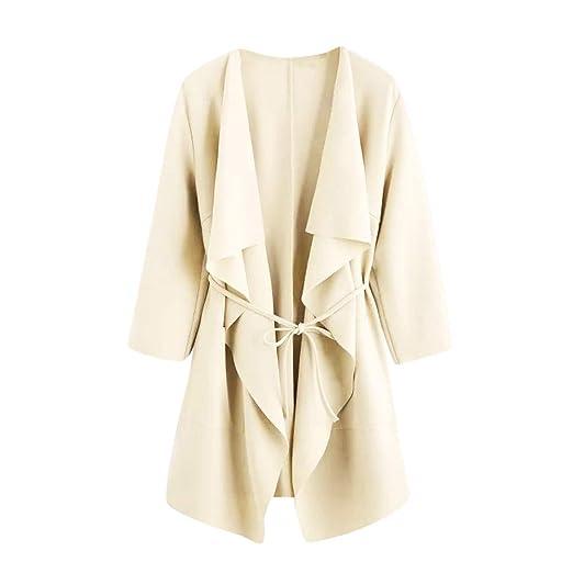 Damen Offenes Sweatshirt Langer Mantel Jacke Mode Outwear Cardigan Rovinci Leicht Mantel mit Wasserfallkragen Kordel Tasche L