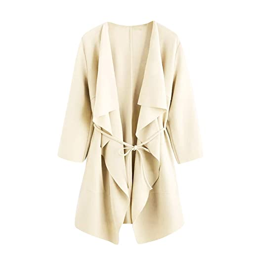 Kulywon Women Casual Waterfall Collar Pocket Front Wrap Coat Jacket Outwear