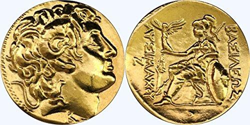 Golden Artifacts Alexander The Great and Athena, Goddess of Wisdom, Greek Coins, Greek Mythology (34-G) (Alexander The Great Best Friend)