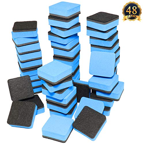 SUBANG 48-Pack Magnetic Whiteboard Eraser Magnetic Dry Erasers Bulk Chalkboard Cleansers Wiper for Kids, Home, School, and Office (Blue, 1.97 x 1.97inch) by SUBANG