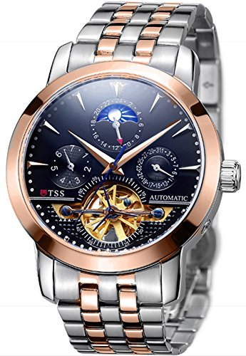 TSS Men's Automatic Tourbillon Moonphase Watch T8030N5 - Stainless Steel Round Watch Synthetic Sapphire Pure & Clear Window - Precise Movement Analog Display - Water Resistant Up to 50m ()
