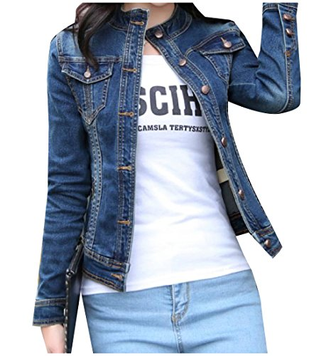 Abetteric Womens Stand Collar Button Down Fitted Long Sleeve Denim Jacket As Picture M