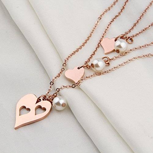 BNQL Rose Gold Mother Daughter Heart Cutout Necklace Set Pearl (Cutout 2 Heart Necklace) by BNQL (Image #1)