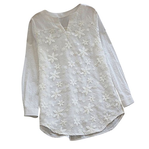 Mimfor Women Floral Lace Embroidery V-Neck Long Sleeve Loose Baggy Tops Shirt Blouse (S, White) ()