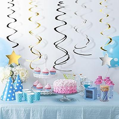 KUUQA 34 Piecies Graduation Hanging Swirl Decorations Stars Swirls 2020 Graduation Theme Party Supplies: Toys & Games