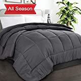 TIBOON All Season Soft Down Alternative Quilted Comforter with Corner Tabs Reversible Duvet Insert Hotel Collection Microfiber Fill Warm Fluffy Hypoallergenic (Grey, Twin(64x88 Inch))