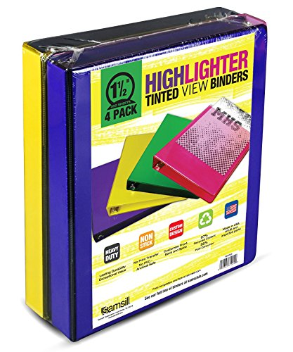 Samsill 1 View Binders 4 Pack Heavy Duty Non Stick Vinyl Highlighter Tinted Colors Archival Colored Binder