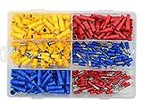 WGCD 300 PCS Insulated Male Female Bullet Butt Wire Crimp Connector Terminals Assortment 12-10 16-14 22-16 Gauge