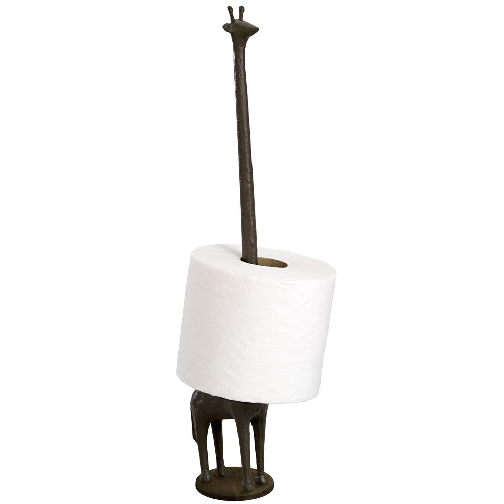 Bits and Pieces - Giraffe Toilet Paper Holder - Brown Finish Giraffe Toilet Paper Statue - Sculpture - Great Statue Gift for Giraffe Lover, Statue 16'' tall - Bathroom Décor