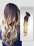 Extension per capelli ombrè ricci, testa completa, 6 pezzi, 55,9 cm