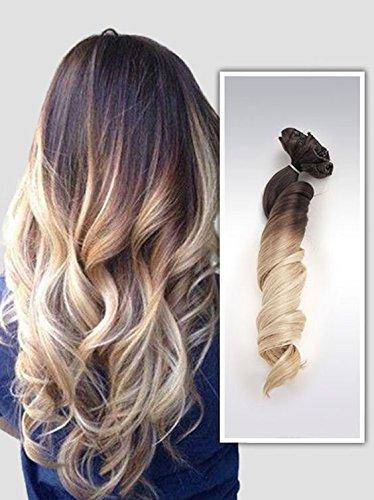 Devalook Extensions Haarverlängerungen, gewellt, Dip Dye, Ombre, Dunkelbraun bis Sandblond, 56cm, 6Stück