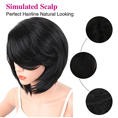 KRSI Short Pixie Cut Straight Bob Synthetic Wigs for Women Heat Resistant Costume African American Wigs with Bangs Natural Black Full Wigs That Look Real+Free Wig Cap (Black 2) by KRSI (Image #4)