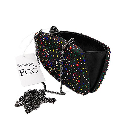 Evening Women Handbags Purse Diamond Black Bag Clutch Minaudiere xg765w