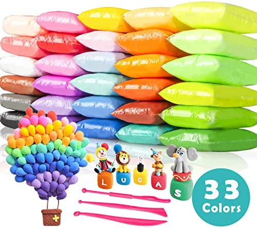 Tomorotec 33 Colors Air Dry Polymer Clay Super Soft Ultra Light Foam Clay for Children Non-Toxic Eco-Friendly Magical Modeling ClayTools Set