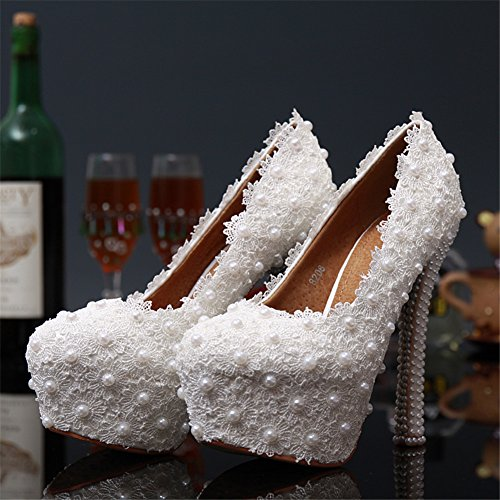 Formal Heels White Bridal Wedding Occasion Women's BoShi Pumps Leather Lace qpwIzXSS