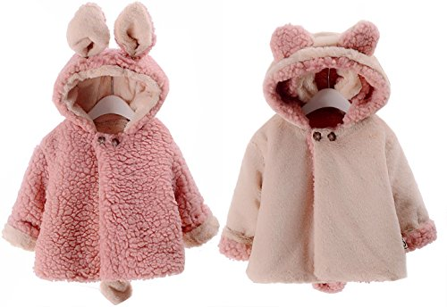 3 Piece Lined Rainsuit (Little Girl's Infant Toddler Reversible Coat Rabbit Ears With Tail Winter Jacket Outerwear (12-18 Months, Pink))