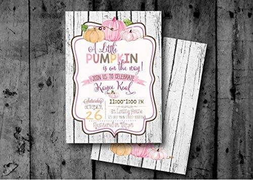 Pumpkin Baby Shower Invitation - Autumn Baby Shower Invitations - Rustic Baby Shower Invitation - Girl Baby Shower Invitation - 5x7]()