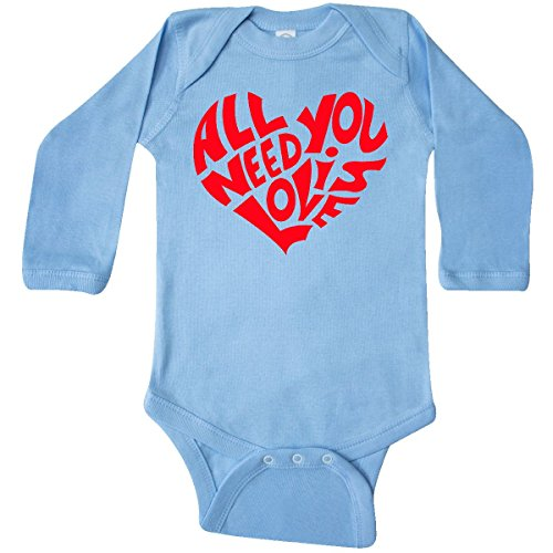 inktastic - All You Need is Love Long Sleeve Creeper 12 Months Light Blue 28a02 -