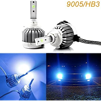 2x 9005 HB3 Ice Blue 8000K COB LED Headlight Bulbs Conversion Kit For High/Low Beam Daytime Running Lights (Newest Model)