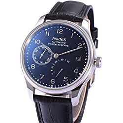 Fanmis Power Reserve Black Polit Dial Silver Numbers Automatic Self Wind Calendar Black Leather Strap Men's Watch
