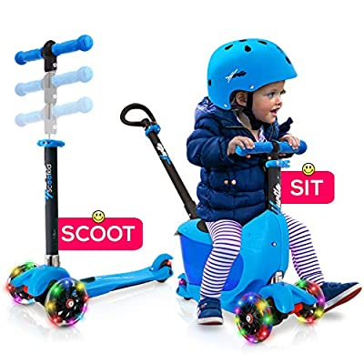 Hurtle 3 Wheeled Scooter for Kids - Child/Toddlers Toy Kick Scooters w/Storage Box Seat, Safety Push-Bar Handle, Adjustable Height, Flashing Wheel Lights, for Boys/Girls 1-5 Year Old HUKS86B (Blue) : Sports & Outdoors