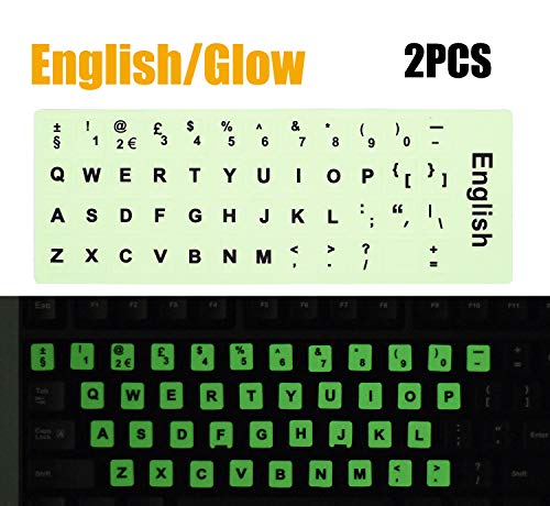2PCS Pack Universal English Keyboard Stickers Glow in The Dark, Keyboard Letters Stickers for Computer Laptop Notebook Desktop (English-Glow)