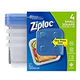 ziploc food storage - Ziploc 3 Cup Small Square Food Storage Container, 4 Count