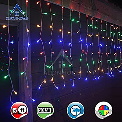 Alion Home Solar 256-Count LED String Starry Curtain Icicle Lights with 4 Modes Controller- 16ft W × 2ft H- Multi-color
