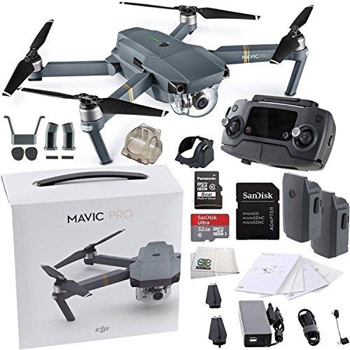 DJI Mavic Pro Collapsible Quadcopter Drone Essentials Bundle w/ Manufacturer