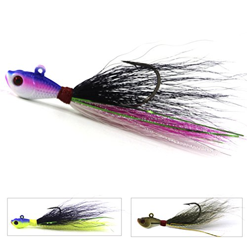 Bucktail Fishing Lures (Bucktail Jig Fluke Lures Saltwater Freshwater Fishing Baits Assorted Kit for Bass Striper Bluefish Surf Fishing Size 1/4 OZ by Shaddock Fishing - pack of 3(Pink/Black/White))
