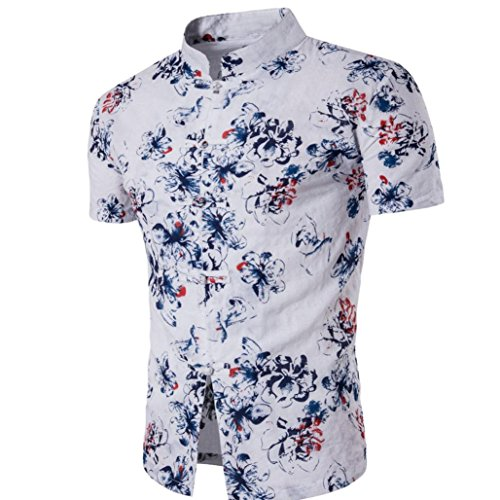 Bohemia Retro Fashion Printing Shirt Tops Für Herren, Amlaiworld Button Dekoration Kurzarm T-Shirt Bluse (XXL, Weiß)