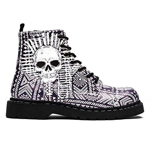 T.U.K. Shoes Womens Anarchic By T.U.K. 7 Eye Boot Aztec W/ Skull Print Purple