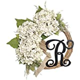 FAVOWREATH 2018 Vitality Series FAVO-W78 Handmade 13 inch White Hydrangea,Leaf,Letter Grapevine Wreath For Summer/Fall Front Door/Wall/Fireplace/Farmhouse Hanger Flower Housewarming Home Decor