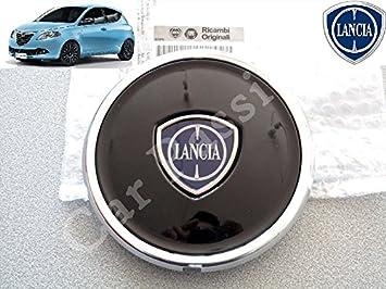 1 Coppetta Tapacubos Lancia Ypsilon Y A partir de 2011 Escudo original trago Tapón aro de aleación negro brillante: Amazon.es: Coche y moto