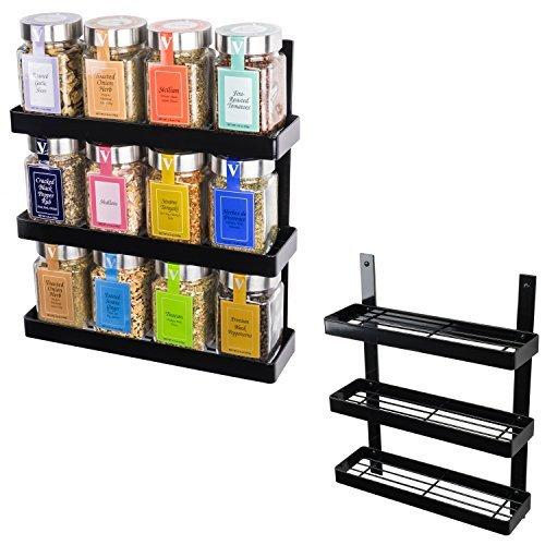 3 Tier Spice Rack - Pantry Storage Organizer - Black Set of 2