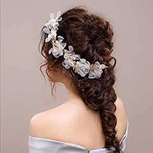 Wedding Headdress or Bride Accessories, Silk Flowers Headpieces Headwear Accessories for Wedding or Party, With Ribbon 112