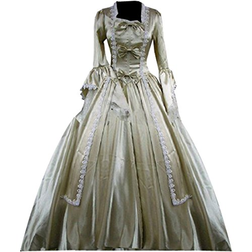 Victorian Age Halloween Costumes (Partiss Women Bowknot Lace Gothic Victorian Fancy Dress Medium,Champagne)