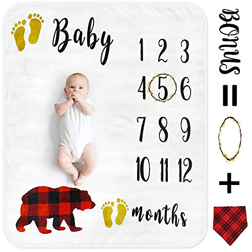 Baby Monthly Milestone Blanket for Boy Girl, Organic Thick Fleece Personalized Photography Background Blankets, Large for Mom Newborn Baby Shower Gifts + Bib + Frame (Bear, 47x40in)]()