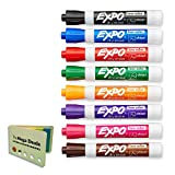 Expo 80078 Low Odor Dry Erase Markers, Chisel Tip, Assorted Colors, 1 Pack with 8 Markers, Total of 8 Markers