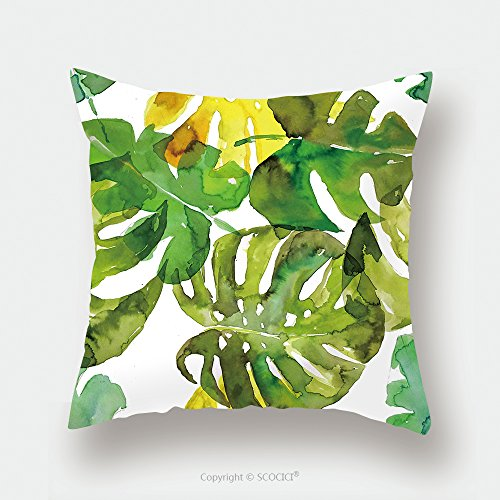 Custom Satin Pillowcase Protector Watercolor Palm Leaves Seamless Pattern 418190818 Pillow Case Covers Decorative by chaoran