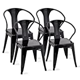 Costway Tolix Style Dining Chairs Industrial Vintage Chic Metal Stackable High Back Indoor Outdoor Dining Bistro Café Kitchen Arm Side Chairs (Black Set of 4)