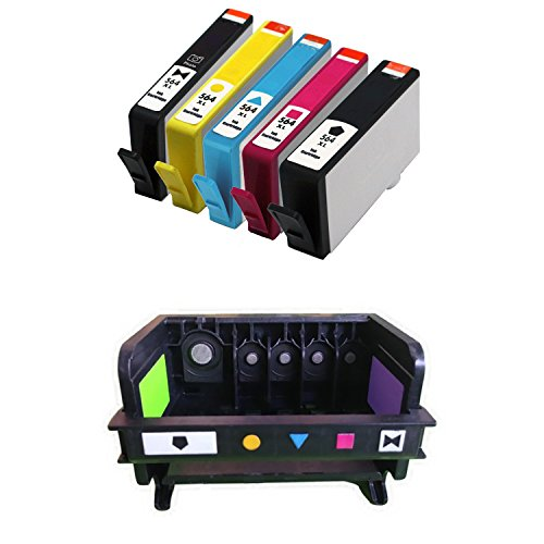 INKMATE 5 Pack 564XL (BK PBK C M Y) Ink Cartridge & 1 Pack 5 Slot 564 Print Head for PhotoSmart 7510 7520 C5324 C6324 D5400