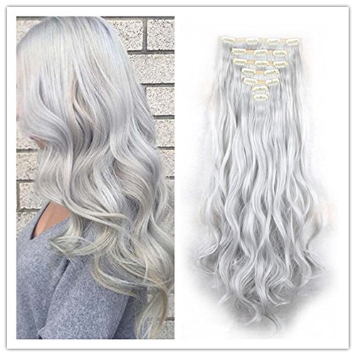 Elegance Hair Extensions (Clip in Hair Synthetic Hair Extensions Curly Wavy Natural Silver Gray Hair 8 Pcs for Women)