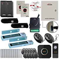 Visionis FPC-6151 Two Door Access Control for Outswing Door 600lbs MagLock TCP/IP Wiegand Controller Box, Software Included, Black Card Reader, Doorbell, Receiver, PIR Kit