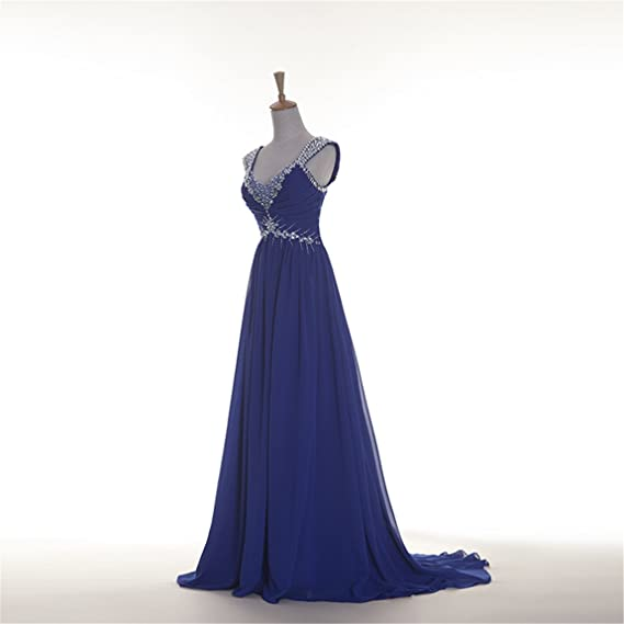 Fanciest Womens Cap Sleeve Crystal Evening Dresses Long Prom Gowns Royal Blue: Amazon.co.uk: Clothing