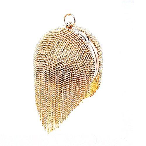 Tassels Orange Pochette Gold Tassels femme Flada Gold pour moyen qP7wTnAv8
