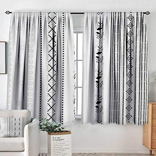 Elliot Dorothy Blackout Curtains 2 Panels Henna,Vertical Stripes with Geometric Floral Old Fashioned Motifs Rangoli Inspired Design,Black White,Rod Pocket Curtain Panels for Bedroom & Kitchen 63