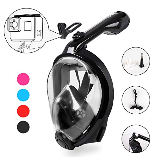 (HEETA Snorkel Mask 2.0 Version 2018 New Foldable 180° Full Face Snorkel Mask Panoramic View with GroPro Mount Anti-Fog Anti Leak Easy Breath Dry Snorkel Mask for Adults Kids, (Black)