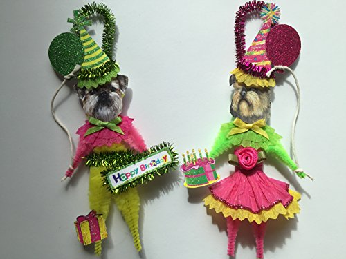 Brussels Griffon BIRTHDAY ORNAMENTS Vintage Style Chenille Ornaments Set of 2