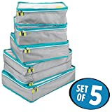 mDesign Versatile Travel Storage Organizer Cubes: Mesh Tops, Integrated Handles and Two-Way Zippers: Perfect for Packing Luggage/Suitcase and Carry-On – Set of 5, Gray/Teal Blue Trim, White ZIpper